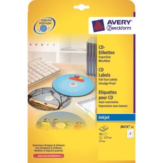 Avery J8676-25 CD labels white matt Ø117 (50)