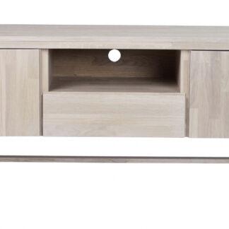 Brooklyn TV-bord - hvidpigmenteret eg, m. 2 låger, 1 skuffe og 1 rum