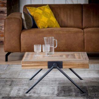 FURBO sofabord - natur/sort teaktræ/metal, kvadratisk (70x70)