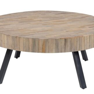 FURBO sofabord - natur/sort teaktræ/metal, rund (Ø:90cm)