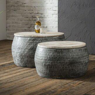 FURBO sofabordssæt - metal og genbrugt mangotræ, runde (sæt m. 2)