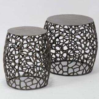FURBO sofabordssæt - sort nikkel, runde (sæt m. 2)
