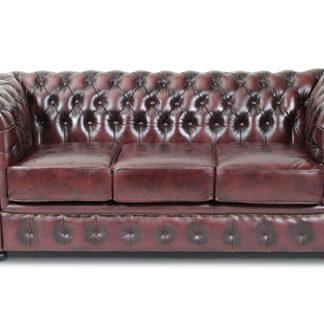 HAGA Liverpool 3 chesterfield sofa - oxblod læder