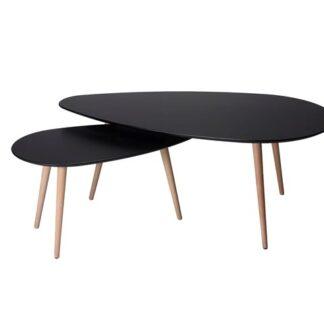 Just sofabord - sort/natur stel, lille, trekantet