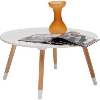 KARE DESIGN Blossom sofabord - hvid bordplade, natur ben, rundt (Ø:70)