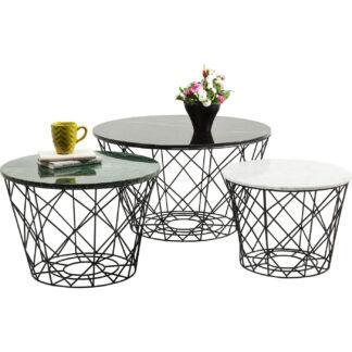 KARE DESIGN East Round sofabordssæt - grøn/hvid/sort marmor, rund (sæt m. 3)