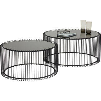 KARE DESIGN Wire Black sofabord - klart glas/sort stål, rundt (2/sæt)