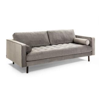 LAFORMA Bogart sofa - gråt fløjl og mørkt bøgetræ, 2 pers.
