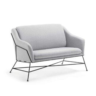 LAFORMA Brida sofa - lysegråt stof og sort metal, 2 pers.