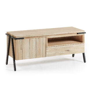 LAFORMA Disset TV-bord - natur akacietræ og metal, m. 1 låge og 1 skuffe