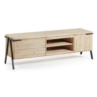 LAFORMA Disset TV-bord - natur akacietræ og metal, m. 1 låge og 2 skuffer