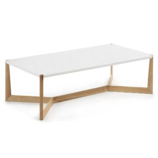 LAFORMA Duplex sofabord - hvid/natur træ, rektangulær (120x60)