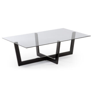 LAFORMA Plum sofabord - grå/sort glas/stål, rektangulær (120x70)