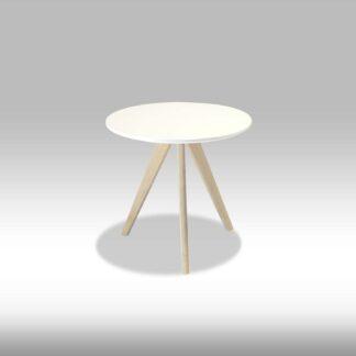 Life sofabord - mat hvid træ m. egetræsben, m. skråben, rundt (Ø:48)