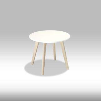Life sofabord - mat hvid træ m. egetræsben, rundt (Ø:48)
