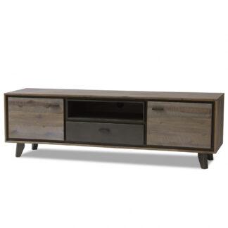 Malaga TV-bord - brunt/gråt akacietræ, m. 2 låger, skuffe og åbent rum