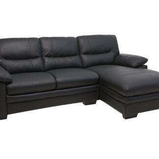 Moby sofa m. chaiselong - sort læder, højrevendt