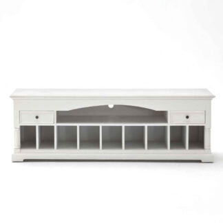 NOVASOLO Provence TV-bord - hvid maghoni m. 10 rum og 2 skuffer
