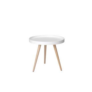 Opus sofabord - hvid/natur træ/bøgetræ, rund (Ø:50)