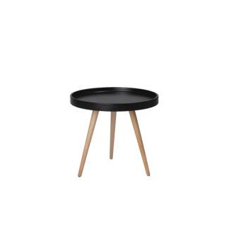 Opus sofabord - sort/natur træ/bøgetræ, rund (Ø:50)