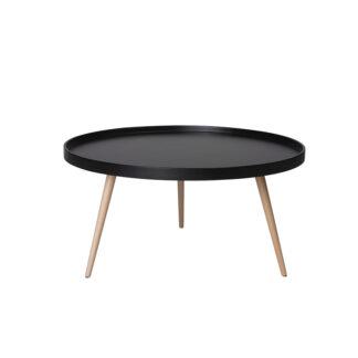 Opus sofabord - sort/natur træ/bøgetræ, rund (Ø:90)