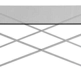 RGE Cross sofabord - glas/sølv glas/metal, rektangulær (120x65)