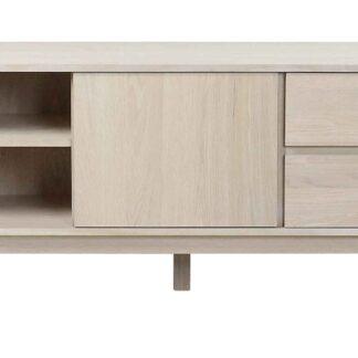 Yumi TV-bord - hvidpigmenteret egetræ, 2 skuffer, 1 hylde, 1 låge