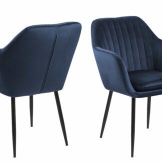 Emilia lænestol - mørkeblå/sort stof/metal, m. armlæn