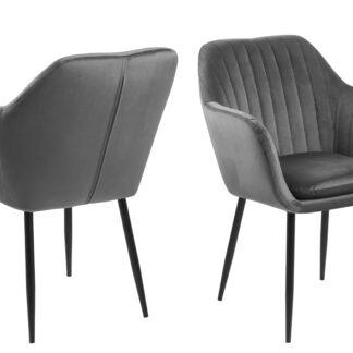 Emilia lænestol - mørkegrå/sort stof/metal, m. armlæn