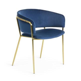LAFORMA Konnie lænestol - mørkeblå/guld fløjl/stål, m. armlæn