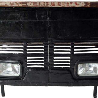 TRADEMARK LIVING Cool bardisk - sort jern og genbrugstræ, m. 2 hylder, front fra gammel lastbil