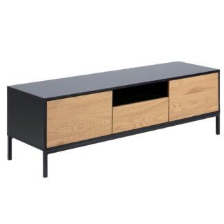Seaford TV-bord - natur papir vildeg og sort MDF/metal, m. 2 låger og 1 skuffe