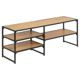 Seaford TV-bord - natur/sort papir vildeg/metal, m. 3 hylder