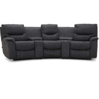 HAGA Colorado sofa - grafit grå stof, 3 pers., m. recliner funktion