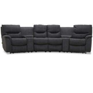 HAGA Colorado sofa - grafit grå stof, 4 pers., m. recliner funktion