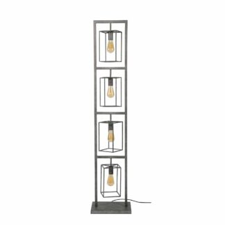 FURBO gulvlampe - patineret sølv stål, m. 4 lamper