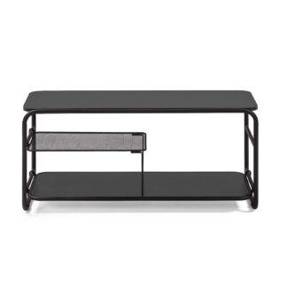 LAFORMA rektangulær Academy TV-bord m. 2 hylder - sort melamin og stål (98x46)