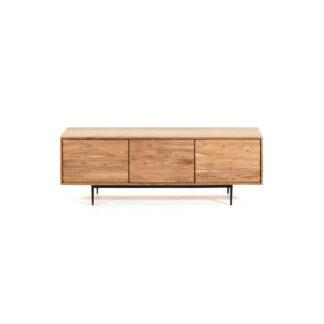 LAFORMA rektangulær Delsie TV-bord m. 3 låger - natur akacietræ og sort metal (147x38)