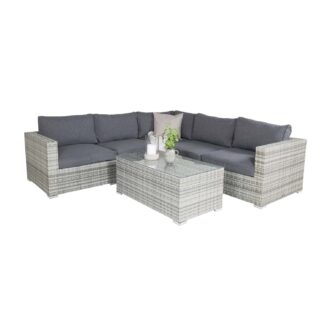 Amazon - Modul Sofa set 3+2+1 - Grey wicker/Grey cushions