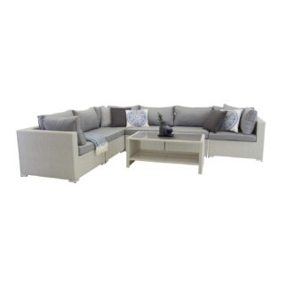 Amazon - Modul Sofa set 3+2+1 - White wicker/Grey cushions