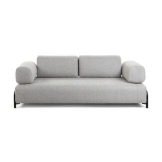 LAFORMA Compo 3 pers. sofa - lysegrå stof og metal
