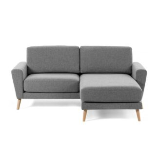 LAFORMA Guy 2 pers. sofa m. chaiselong - lysegrå stof og træ