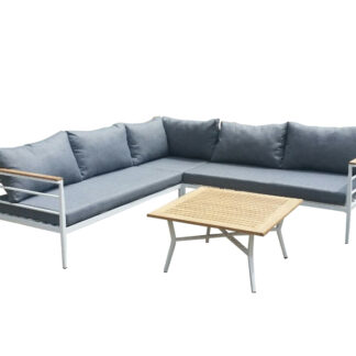 Mexico - Corner sofa inc. Table - White Aluminium/Grey cushions/teak table