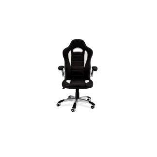 Speedy 3 gaming stol - sort og hvid kunstlæder, m. armlæn