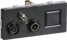 LK FUGA® Antenneudtag Multimedie TV/Radio/RJ45 slutdåse koksgrå, TD372, 2 modul