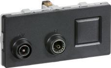 LK FUGA® Antenneudtag TV/Radio/RJ45 sløjfedåse koksgrå, TD312, 2 modul
