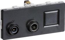 LK FUGA® Antenneudtag TV/Radio/RJ45 slutdåse koksgrå, TD301, 2 modul