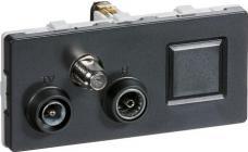 LK FUGA® Antenneudtag TV/Radio/Sat/RJ45 slutdåse koksgrå, TD352, 2 modul