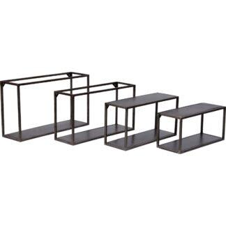 TRADEMARK LIVING rektangulær vægreol - jern m. klar lak, sæt m. 4