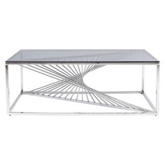 KARE DESIGN rektangulær Laser sofabord - grå glas og stål (120x60)